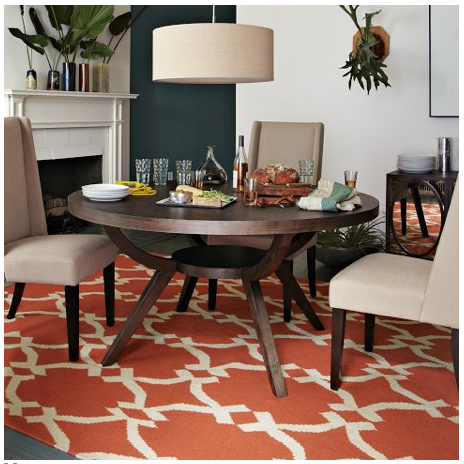 Love This Bright Red Rug With Neutral Walls And Furniture Lattice Dhurrie Arc Base Pedestal Table From West Elm