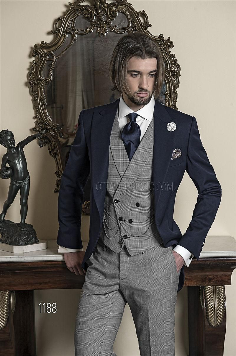 Full Black Tuxedo Brand New Nauy Blue Tailcoat Light Grey Vest Pants Custom  Made Groom Tuxedos