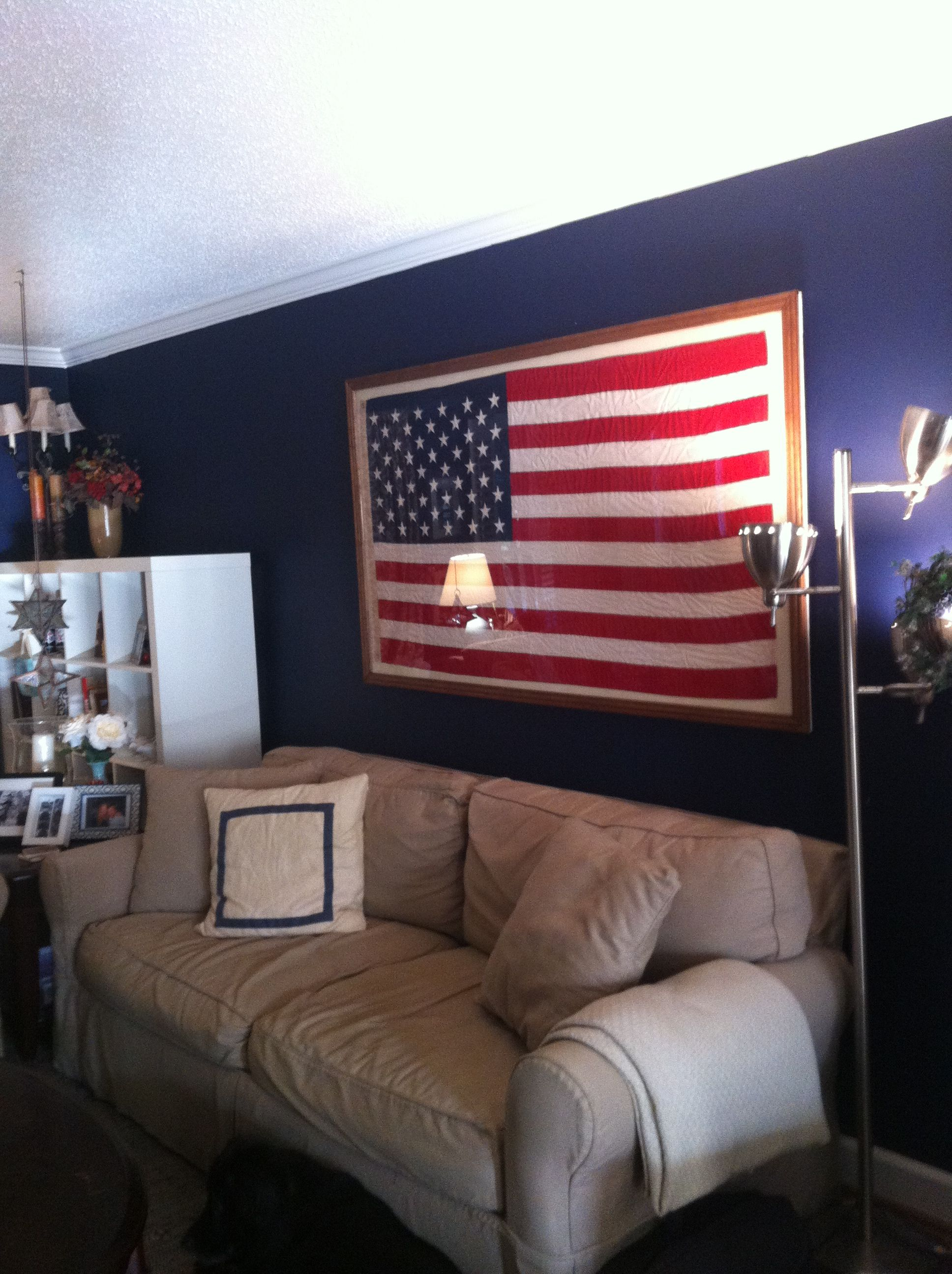 Framed American Flag Michaels Wanted 750 To Frame It But I Built A Frame Out Of Plywood And Plexi Glass For 1 Home Decor Framed American Flag Blue Playroom