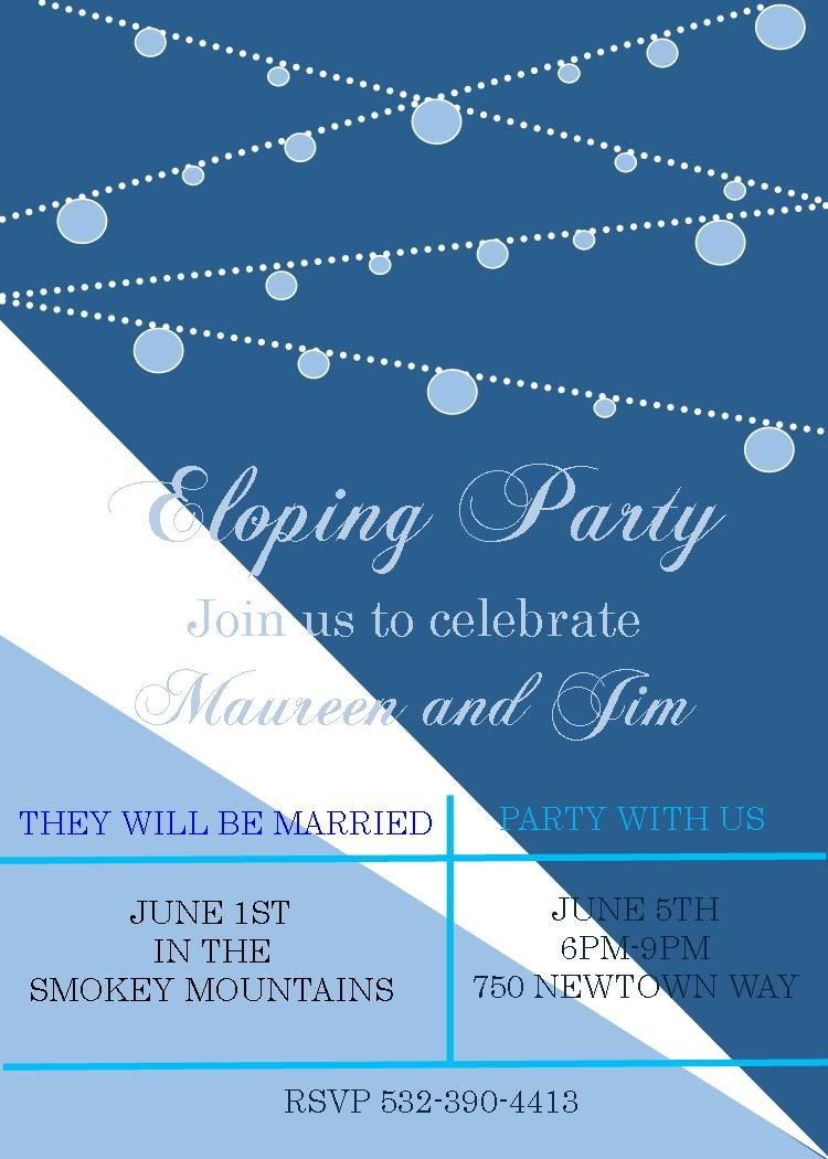 After the Wedding Party Invitation elope | eloping party invitations ...
