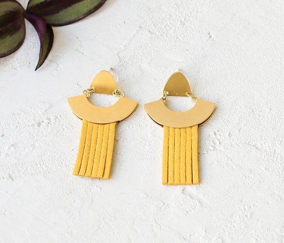 Photo of Eco Earrings, Suede Earrings, Suede Strands, Golden Earrings, Colorful Earrings, Statement Jewelry, Summer Jewelry