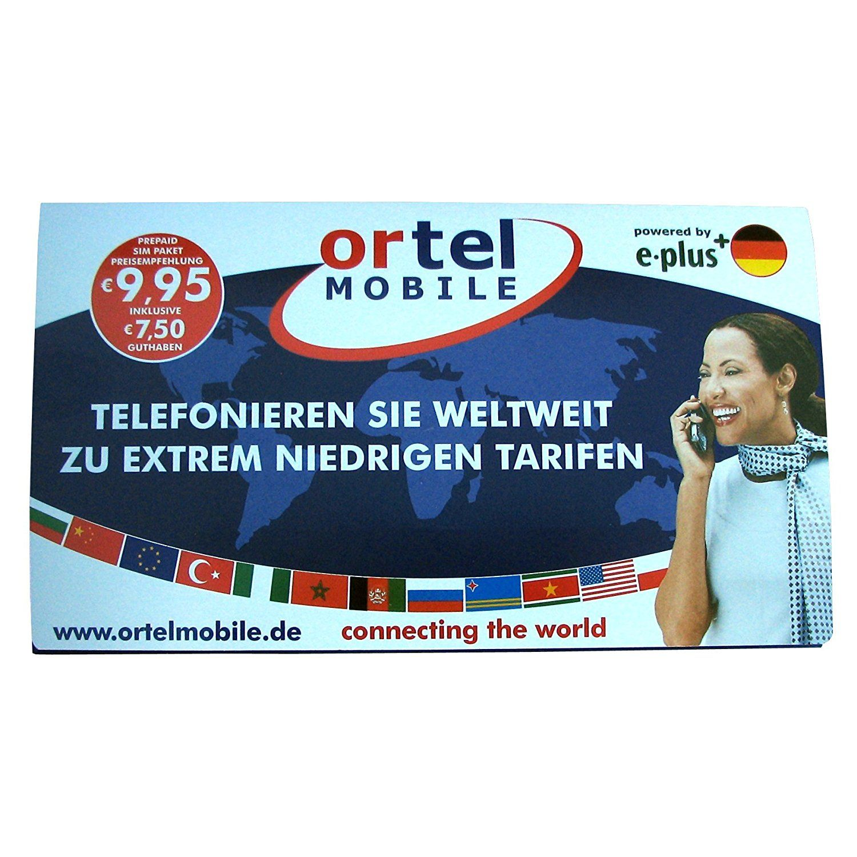 Ortel mobile german prepaid sim card cell