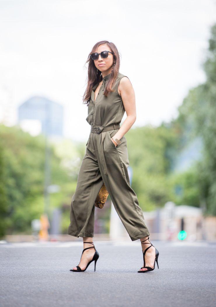 Combinaison, jupe-culotte, chic look, look été, combinaison kaki, kaki, jumpsuit, fashion style, fashion inspiration, street style