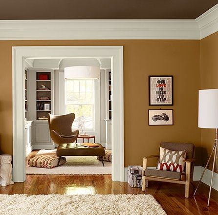 Renkli Tavanlar Modern Gorunumlu Odalar Karamel Duvar Haki Tavan Boyasi Dekorasyon C Living Room Orange Living Room Paint Color Scheme Living Room Wall Color