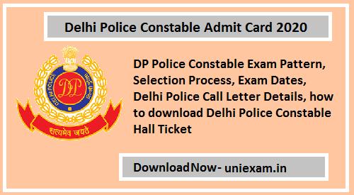 Delhi Police Constable Admit Card 2020 Syllabus Exam Marks Police Jobs