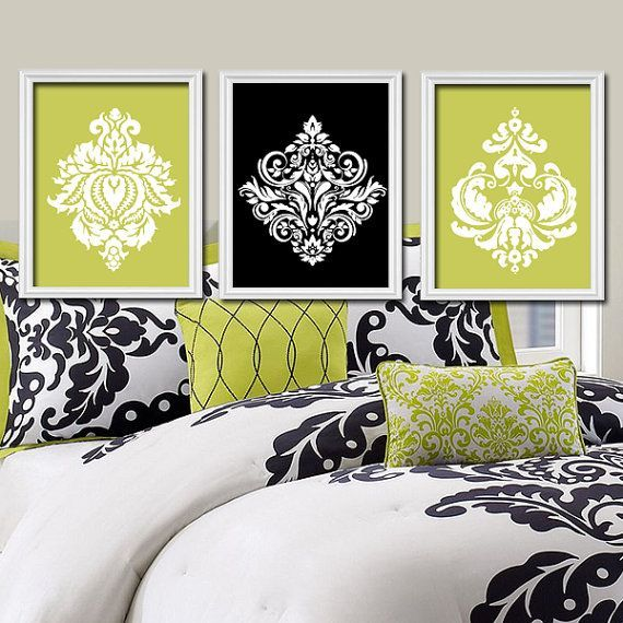 lime green black white damask ornamental design artwork set of 3 trio prints wall decor abstract. Black Bedroom Furniture Sets. Home Design Ideas