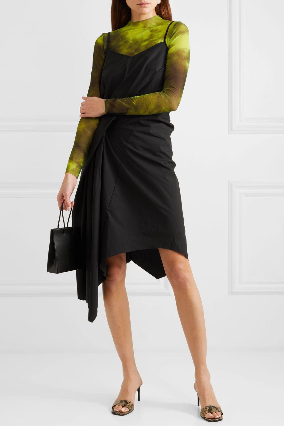 Black Asymmetric Draped Cotton Poplin Dress Marques Almeida Net A Porter Poplin Dress Cotton Poplin Dresses [ 1380 x 920 Pixel ]