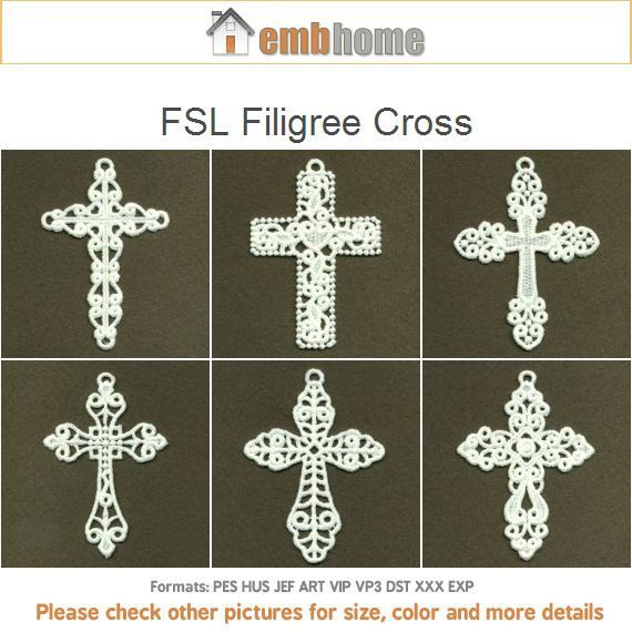 FSL Filigree Cross Free Standing Lace Ornaments Machine Embroidery Designs Instant Download 4x4 hoop 10 designs APE1619