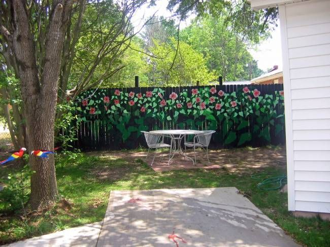 Painted Privacy Fence Garden Art Lawn Decor Painted