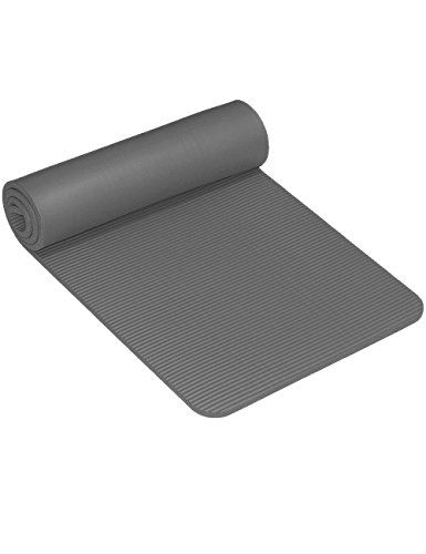 Baleauty 1 2 Extra Thick Nbr Yoga Mat With Carrying Strap And Network Packet For Pilates Fitness Workout 2ftx6ft Grey Thick Yoga Mats Yoga Mat Workout Bags