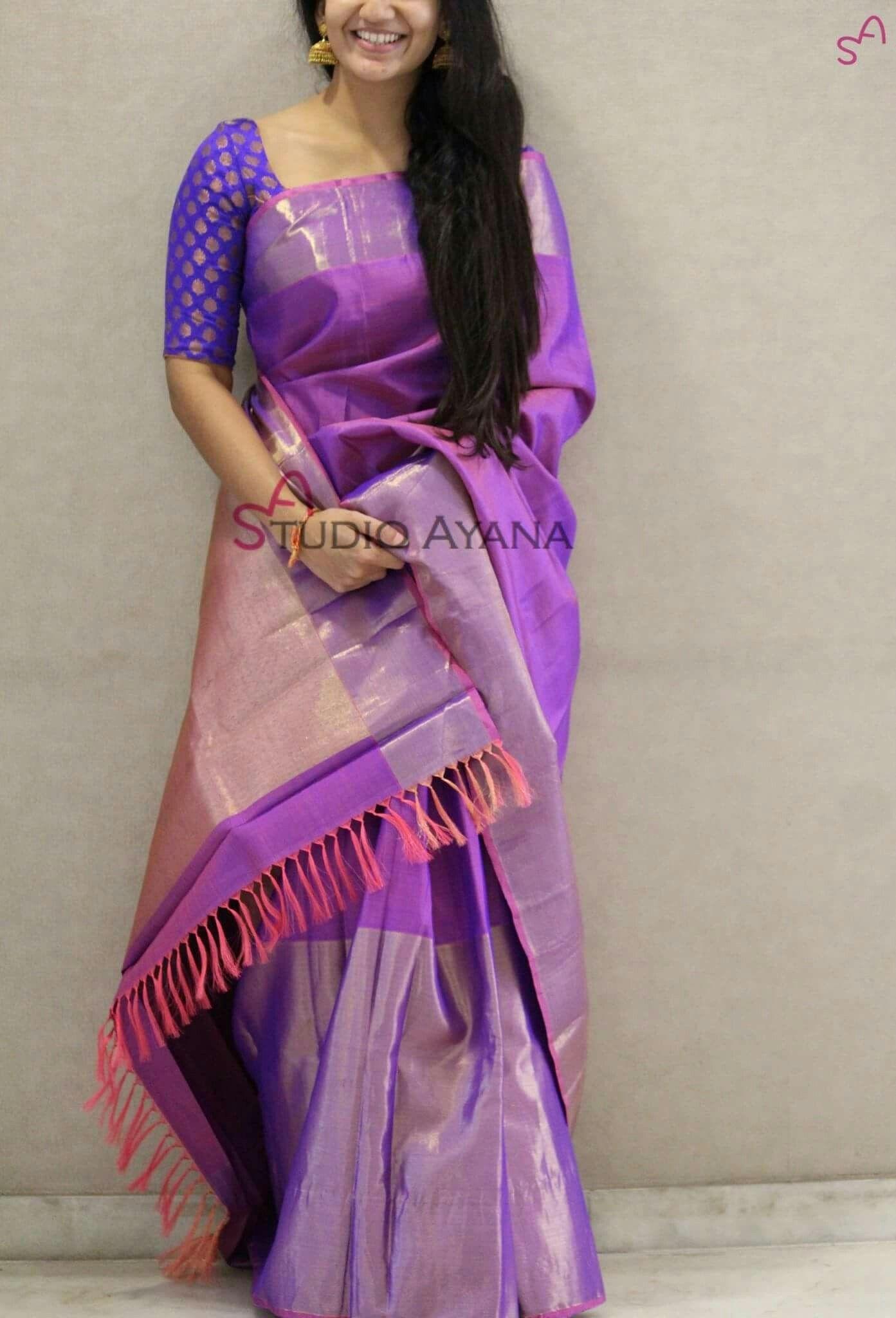 Saree blouse design pattu purple sari less explored colour  blouse designs  pinterest