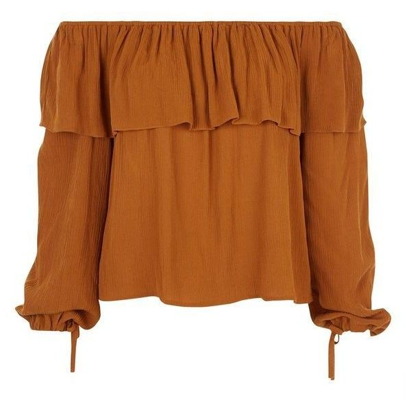 New Look Mustard Frill Bardot Neck Long Sleeve Top ($26) ❤ liked on Polyvore featuring tops, ruffle top, flounce tops, frilly tops, brown tops and long sleeve tops