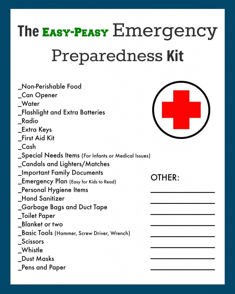 Emergencyevacuation preparedness kit free printable