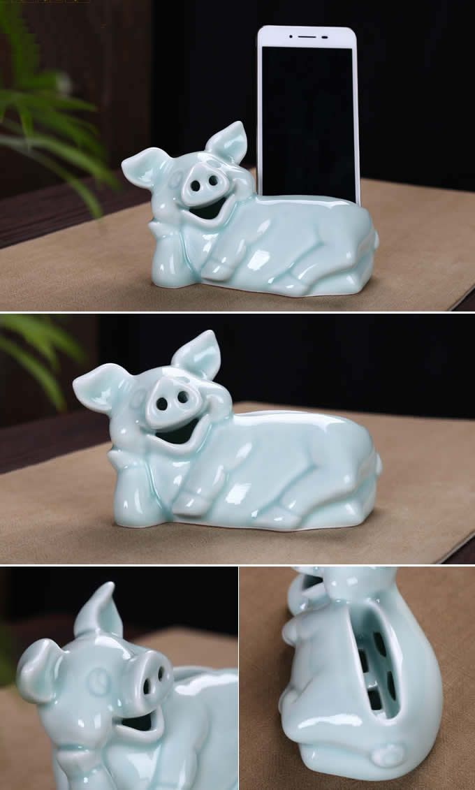 Pig Ceramic Speaker Sound Amplifier Stand Dock For Iphone