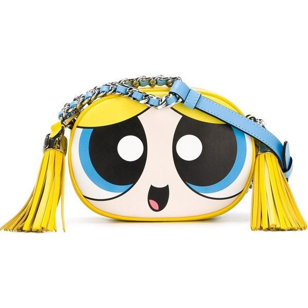 Moschino Powerpuff Girls crossbody bag (6,010 CNY) ❤ liked on Polyvore featuring bags, handbags, shoulder bags, genuine leather purse, chain shoulder bag, genuine leather handbags, leather handbags and moschino purse