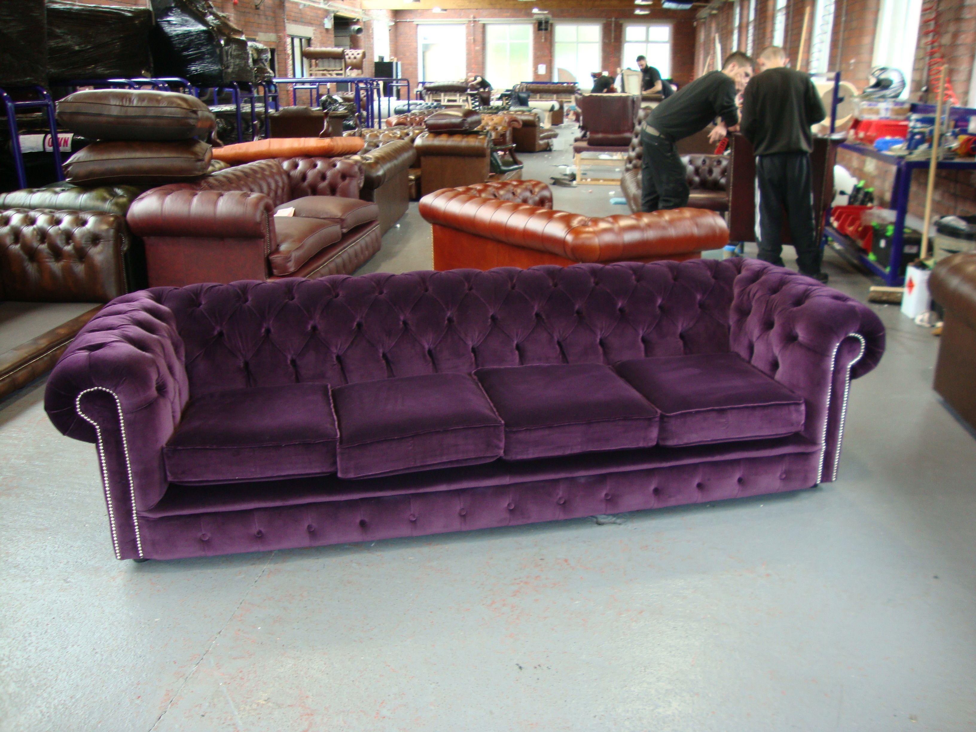 Belchamp Chesterfield Tufted 4 Seater Sofa In Aubergine Plum