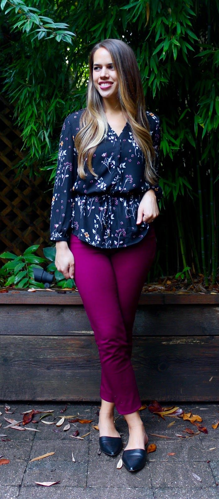 0c7a1e74a3 Jules in Flats - Burgundy Ankle Pants with Floral Peplum Top (Business  Casual Fall Workwear on a Budget)