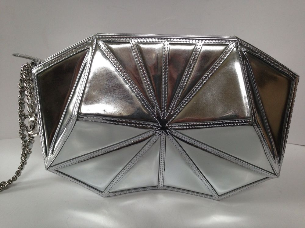 Chanel AUTHENTIC NWT Silver Leather Handbag #CHANEL #Clutch