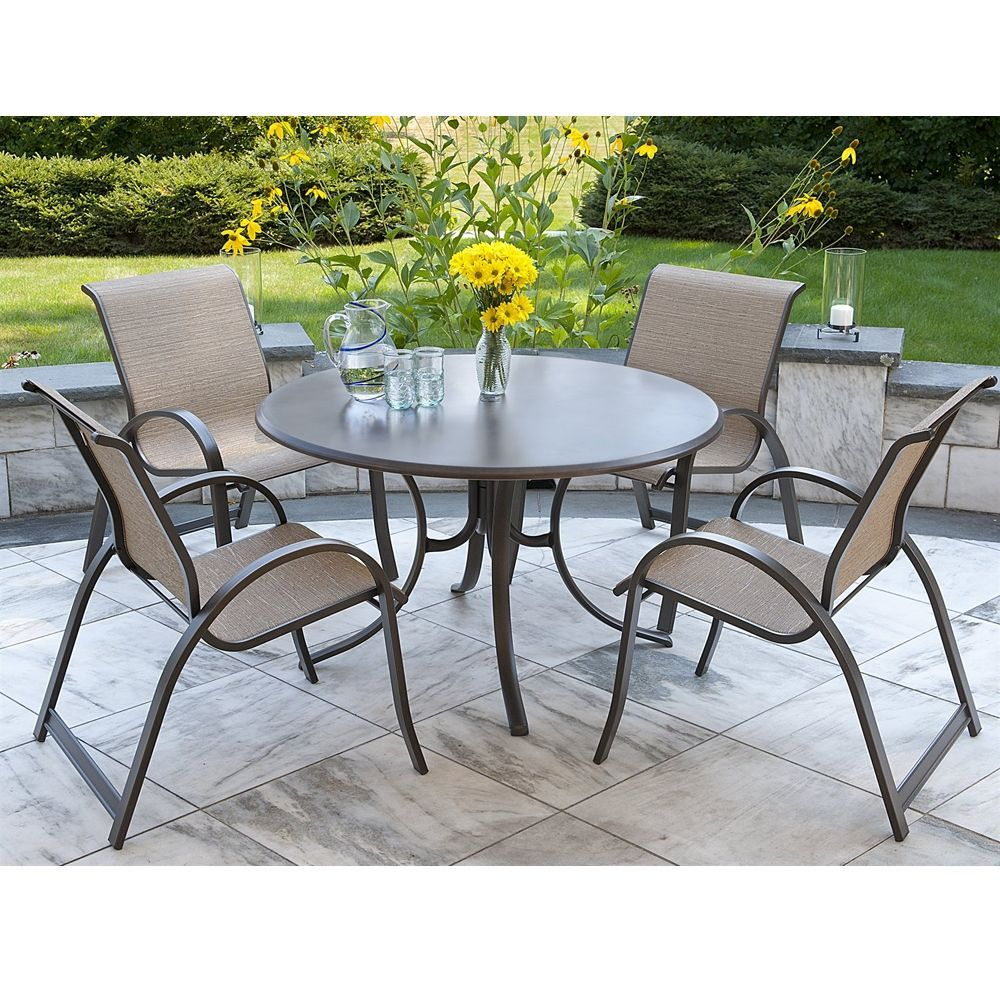 Telescope Casual Aruba Ii Sling 5 Piece Dining Set W Werzalit Table Tc Aruba Set4 Modern Outdoor Patio Outdoor Patio Decor Patio Decor