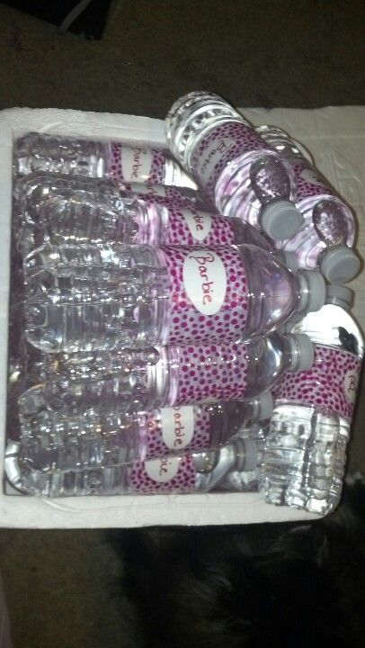 Barbie labeled water bottles for Barbie themed party