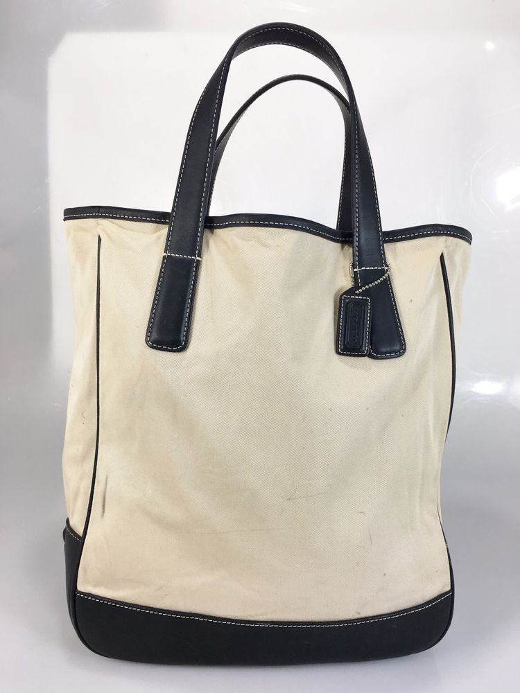 5309572ac Bag · Coach Off-White Canvas Black Leather Tote Bag 7725 w Hang Tag ...