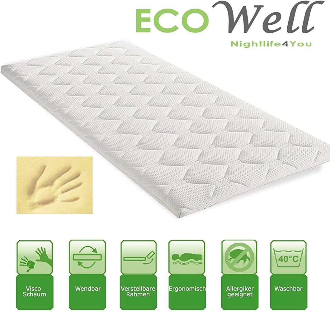 Eco Well Visco Memory Schaum Topper 160x200 Waschbarer Bezug