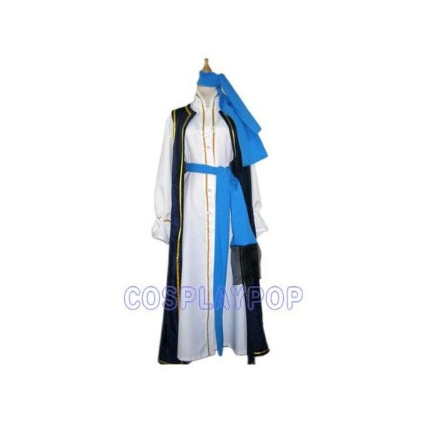 costume with sky blue sash in Trinity Blood Cosplay Costume via Polyvore