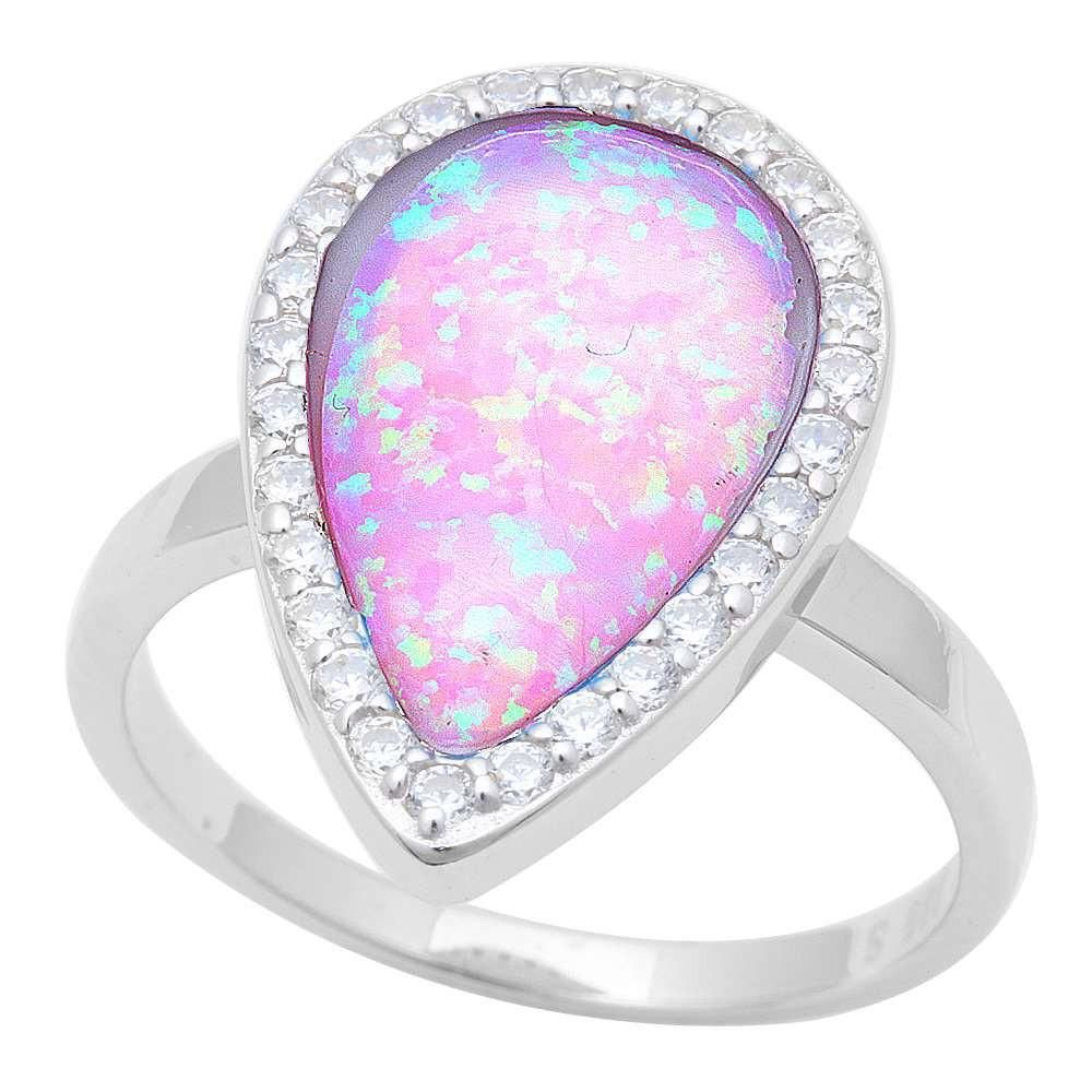 Contemporary Tear Drop Pear Shape Lab Pink Opal Round Russian ...
