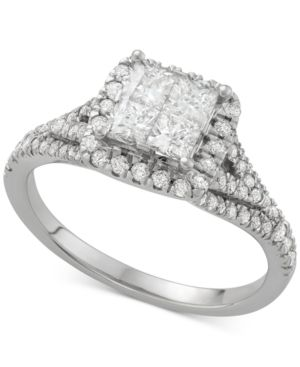 Diamond Quad Halo Engagement Ring (1-1/4 ct. t.w.) in 14k White Gold - Gold