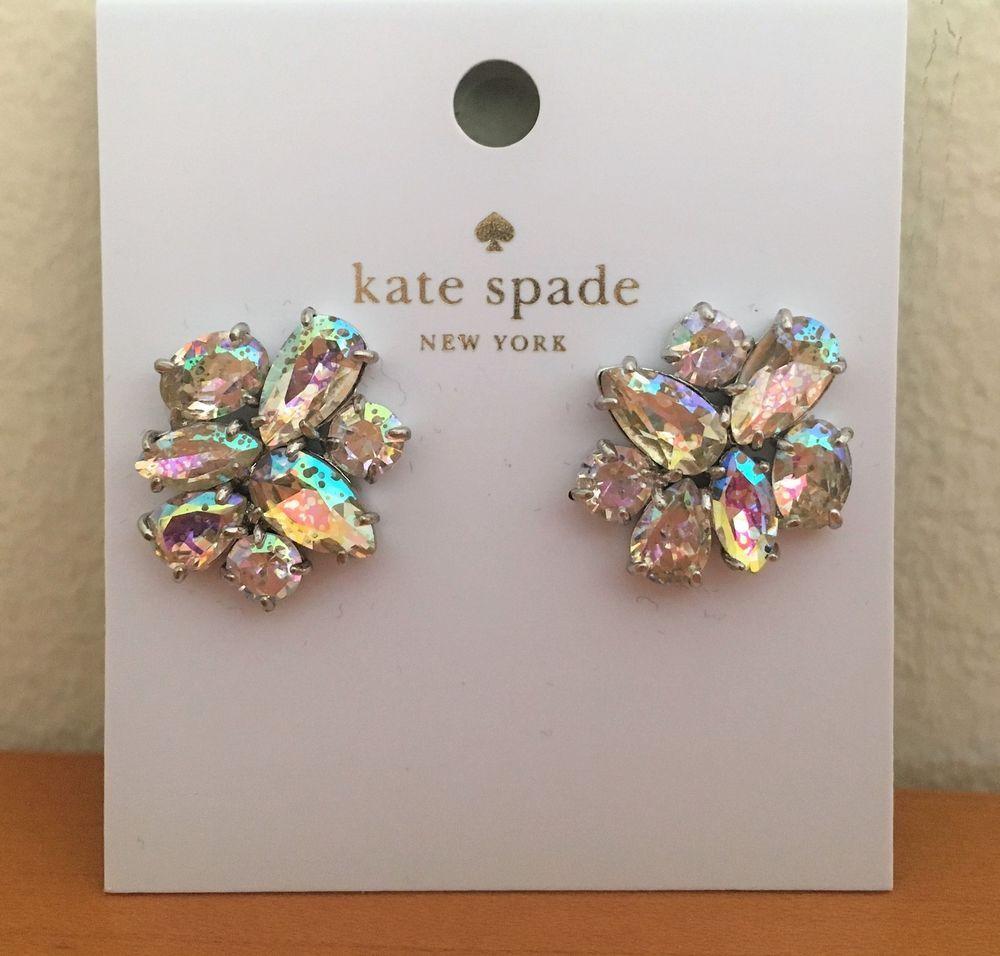 e3ebaddaeb982 KATE SPADE Cluster Studs Earrings White Patina Clear Crystal ~ Pouch Dust  Bag  KateSpade