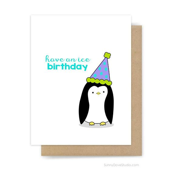 Funny Birthday Card For Friend Her Him Cute Fun Penguin Pun Happy