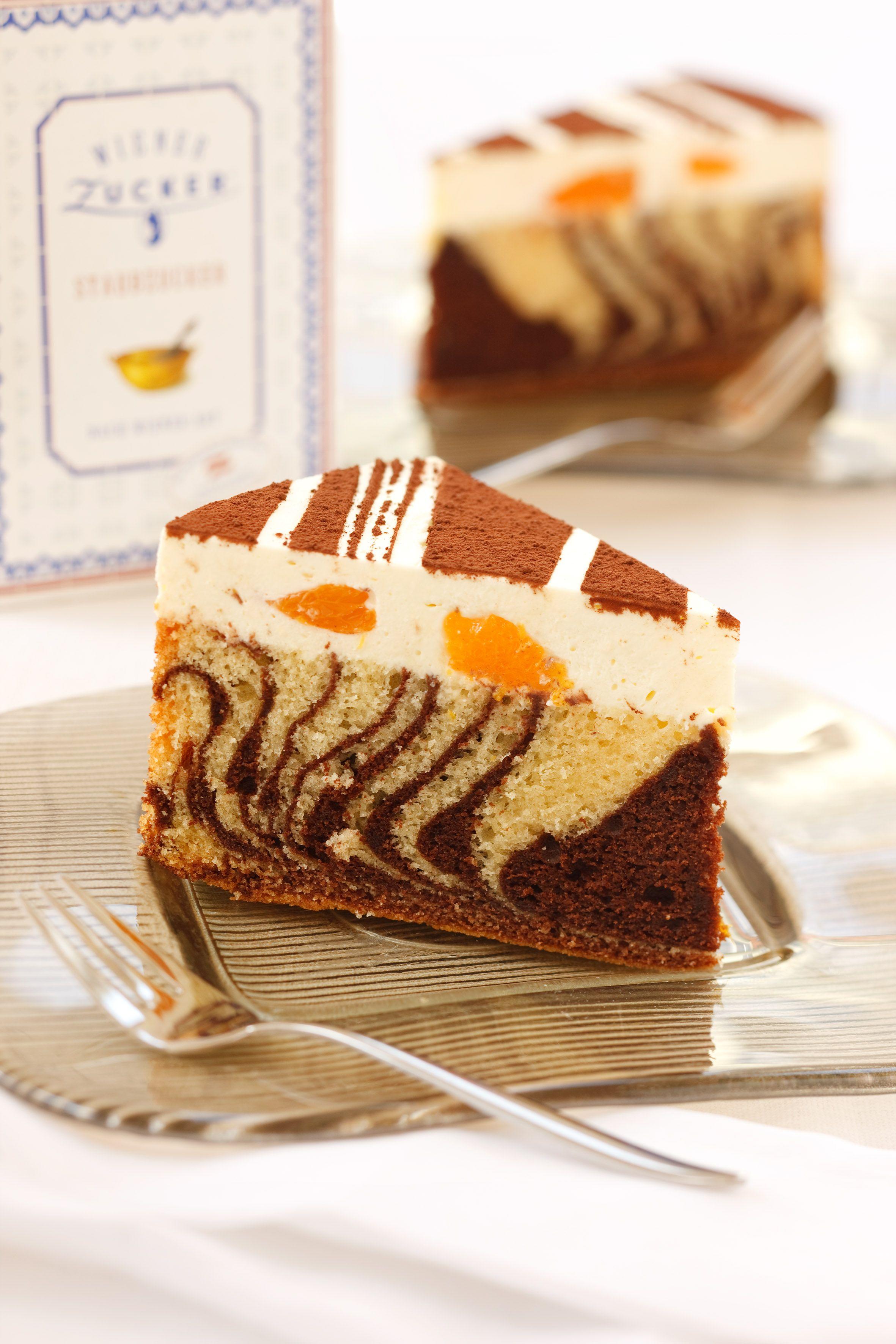Zebratorte Rezept Backen Kuchen Torte Nachspeise Mandarinen