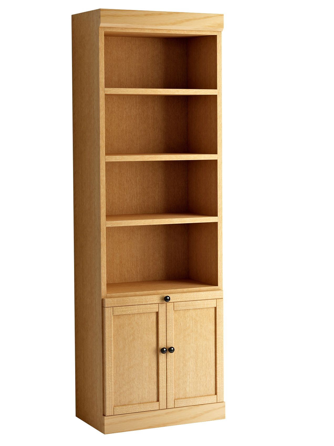 Mission style bookcase with bottom doors in oak honey finish