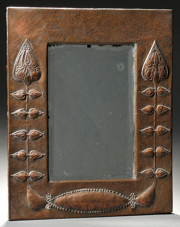 English Arts & Crafts mirror, repoussé copper over wood ...