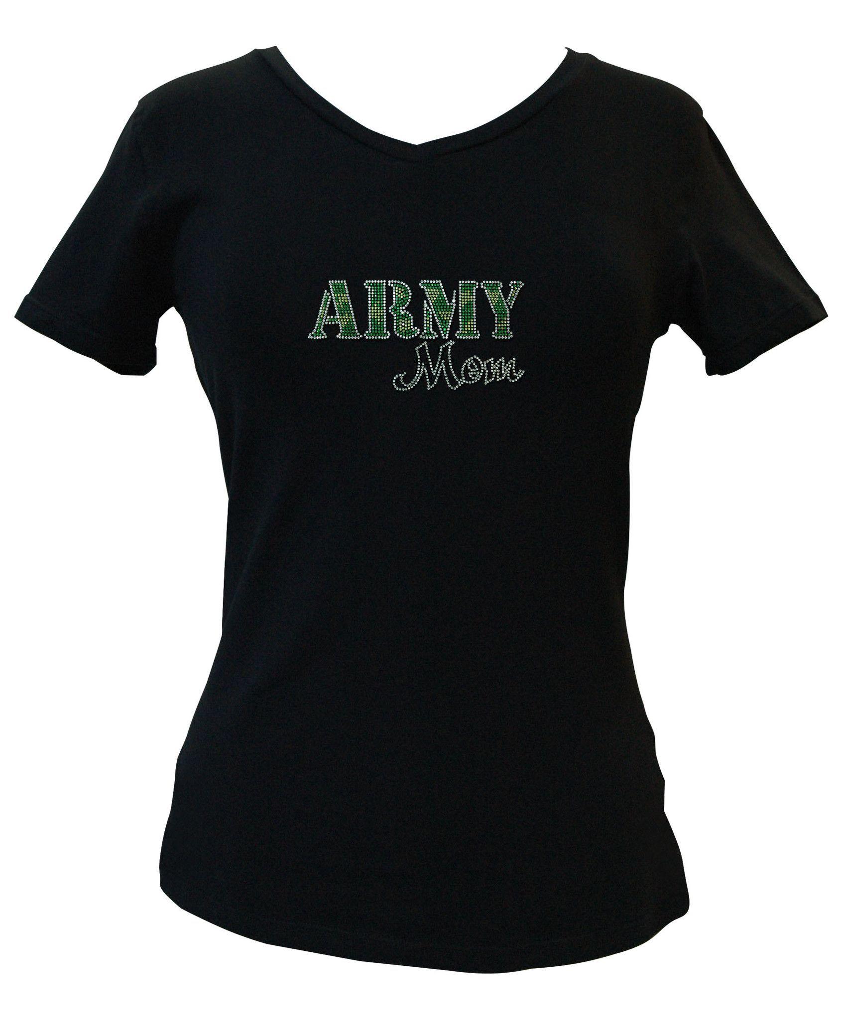 Army mom rhinestone vneck tee army mom and products