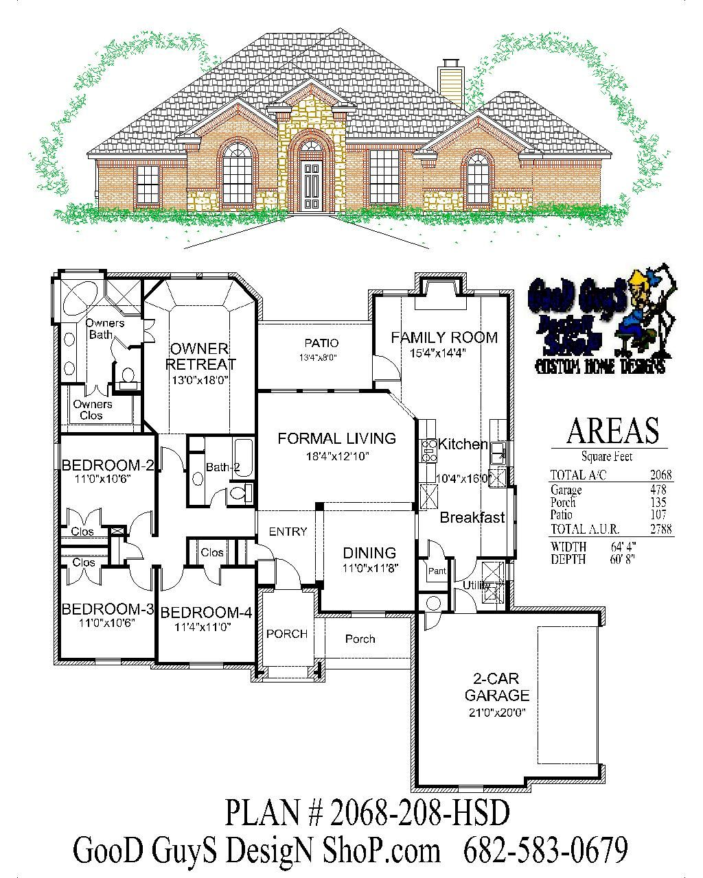 Plan 2068sqft 208 Hsd House Plans House Plans One Story Traditional House Plans
