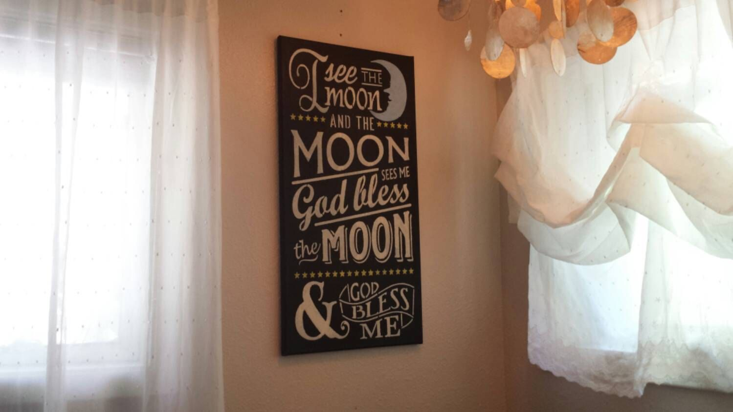 I See The Moon 12 X 24 Canvas With Chalk Paint By Maryeguad On