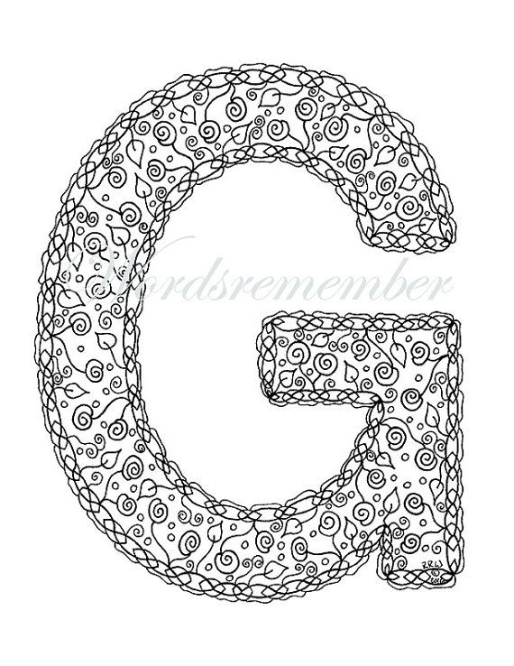Adult Coloring Pages Letter G Coloring Page Alphabet Coloring