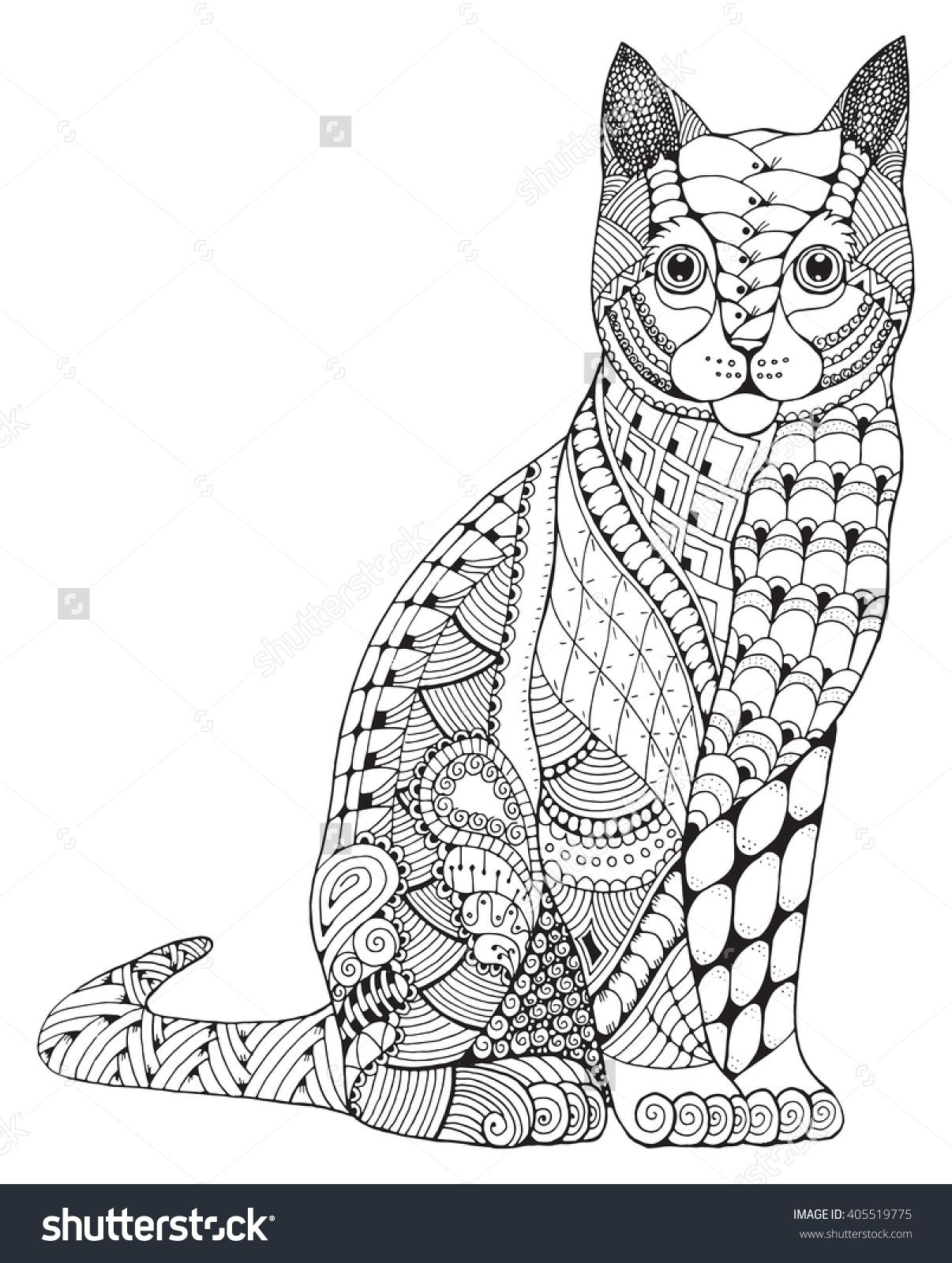 Zen cat coloring page - Zentangle Cat Coloring Page