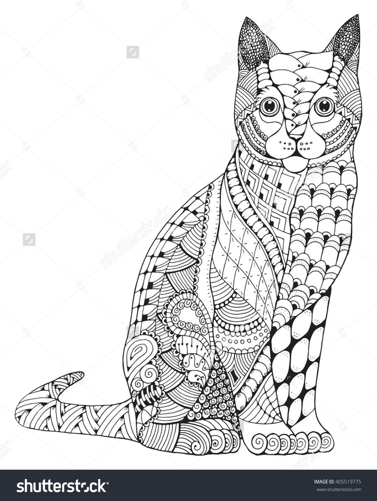 Zentangle cat coloring page | Kleurplaten
