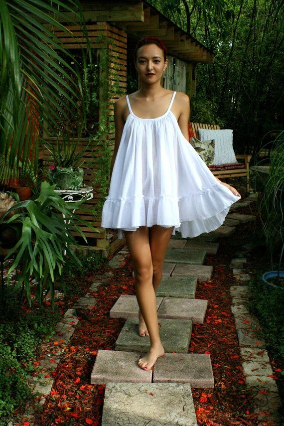 3707ca88a3 White Cotton Baby Doll Nightgown Ruffle Cottage Chic Shabby Chic Cotton  White Lingerie Cotton Sleepw
