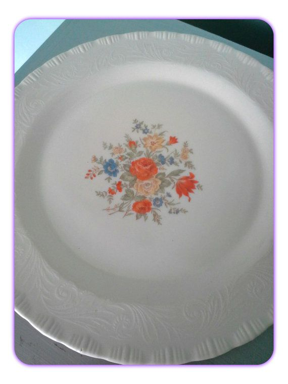 Vintage Cake Plate Milk Glass Embossed with Orange by SparkleSet & Vintage Cake Plate Milk Glass Embossed with Orange by SparkleSet ...