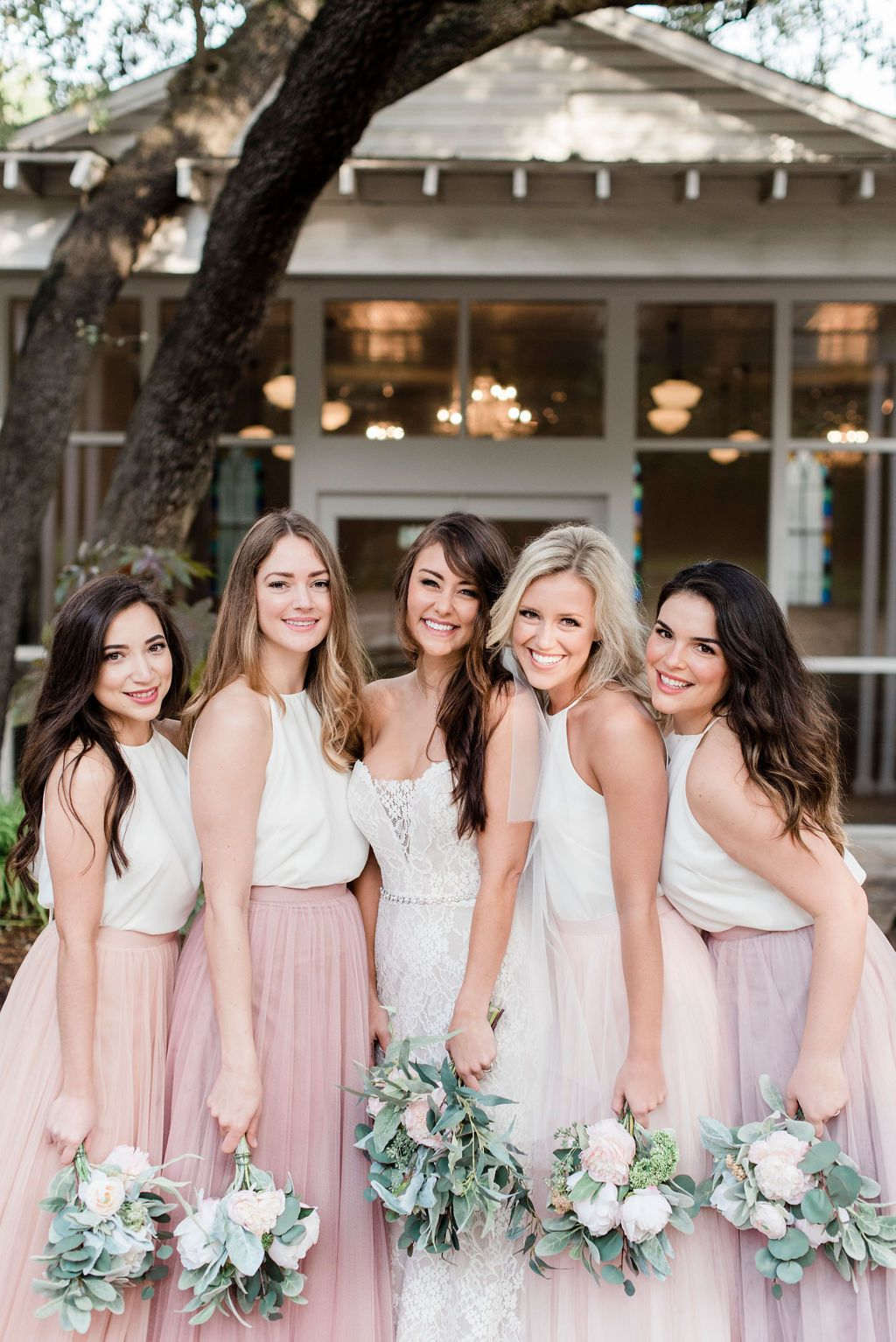 Tulle Bridesmaid Skirts Paired With Chiffon Lace Or Sequin Tops Go Great With A White Bridesmaid Dresses Lace Beach Bridesmaid Dresses Bridesmaid Dresses Boho