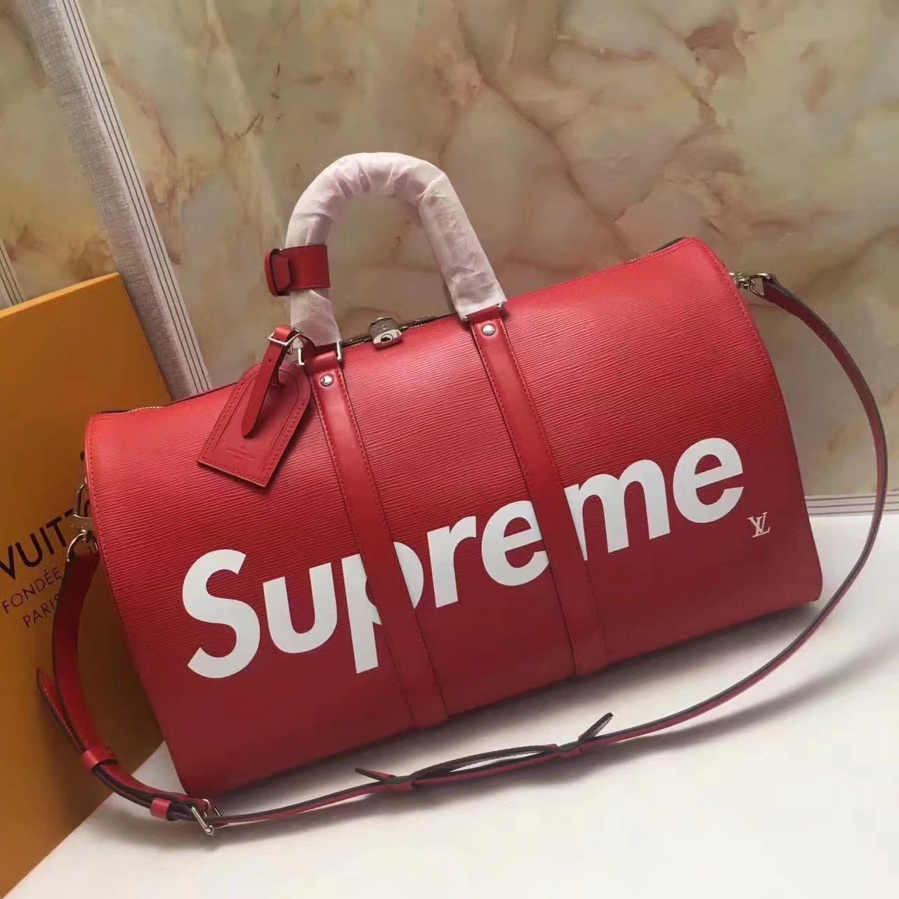Replica Louis Vuitton X Supreme Keepall Bandouliere 45 M53419 Travel Bag Id 33657
