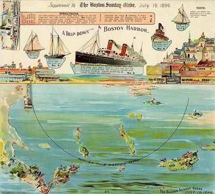Paper Toy - Boston Harbor - Boston Sunday Globe