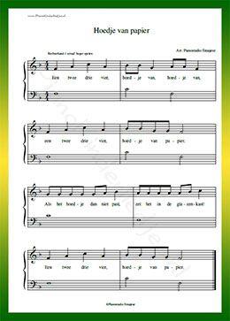 Wonderlijk Hoedje van papier - Gratis bladmuziek van kinderliedjes in NM-87
