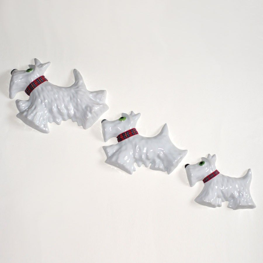 Wall mounted 3 piece Westie Dog set Westies, Scottie dog