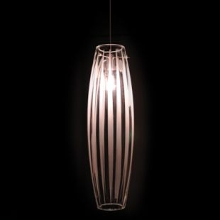 Glass pendant lampshade made in Saint-Jean-Chrysostome (Qc) by Contrast Lighting. Love how the light is diffused by the stripes.