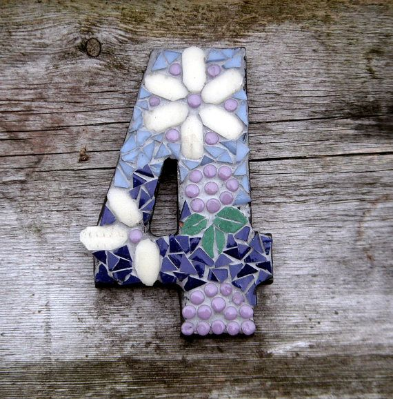 Mosaic house number, mosaic door numbers, custom order numbers, personalised numbers 0 - 9, mosaic house sign, house sign number 4