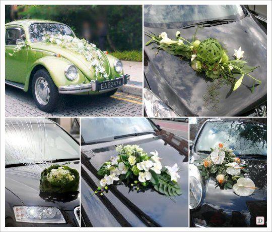 decoration voiture mariage composition florale d coration de voiture des mari s pinterest. Black Bedroom Furniture Sets. Home Design Ideas